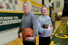 East Chambers' coaches and brothers Russ Sutherland (right) and Todd Sutherland have both seen success in the Buccaneer's football and basketball programs this year. Todd Sutherland will be leading the boys basketball back to San Antonio this week in their latest bid for the state title. Photo taken Tuesday, March 5, 2019 Kim Brent/The Enterprise
