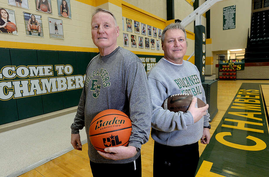 East Chambers' coaches and brothers Russ Sutherland (right) and Todd Sutherland have both seen success in the Buccaneer's football and basketball programs this year. Todd Sutherland will be leading the boys basketball back to San Antonio this week in their latest bid for the state title.