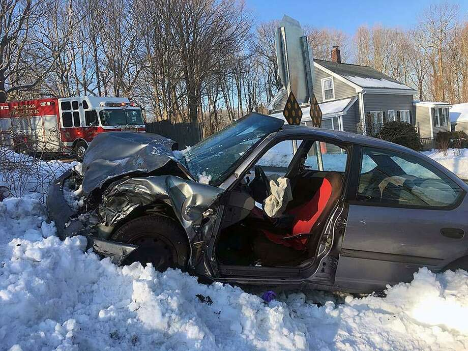 Around 3:45 p.m. Tuesday, March 5, 2019, first responders were called to the intersection of Route 110 and Wheeler Road in Monroe, Conn., for a report of a serious two-car crash. Firefighters had to extricate two men from one of the vehicles, officials said. Three people, who were all conscious and alert, were transported to the hospital following the crash. Photo: Contributed Photo / Monroe Volunteer Fire Department / Contributed Photo / Connecticut Post Contributed