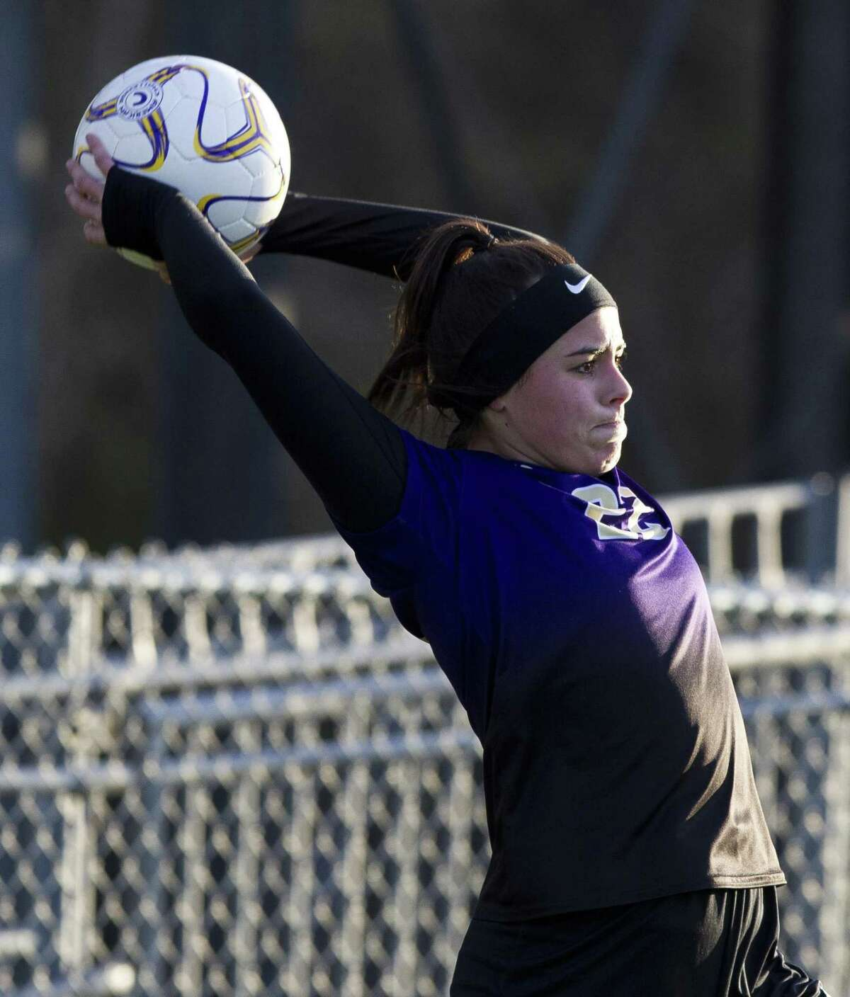 Montgomery midfielder Zoey Prelli (22) throws the ball in bounds during the first period of a District 20-5A high school soccer match at Montgomey High School, Tuesday, March 5, 2019, in Montgomery.
