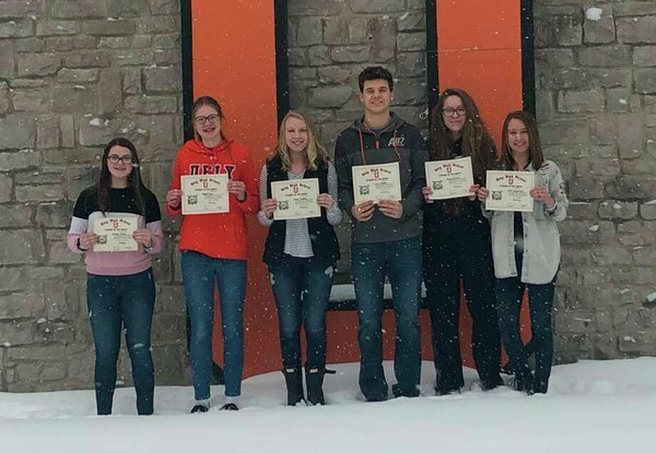 Ubly Community Schools recently announced its Students of the Month for January. Pictured, from left, is Brianna Beaver, grade 7; Abigail Guza, grade 8; Emma Smalley, grade 9; Carson Heleski, grade 10; Abigail Sorenson, grade 11; and Anna Greyerbiehl, grade 12. (Submitted Photo)