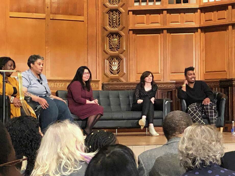 Author Roxane Gay takes part in a panel discussion on writing ethically about violence at Yale University's Battell Chapel Tuesday night. Photo: Hannah Dellinger / Hearst Connecticut Media