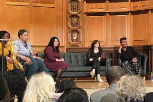 Author Roxane Gay takes part in a panel discussion on writing ethically about violence at Yale University's Battell Chapel Tuesday night.