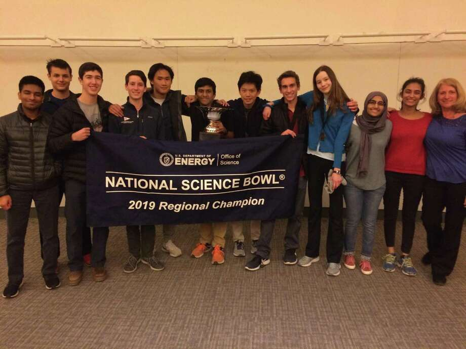 Eleven Greenwich High School students competed in the Northeast Regional Science Bowl tournament over the weekend at UConn-Storrs. The A team, composed of Rahul Subramaniam, Derrick Xiong, Nicholas Liu, Phoebe Hartch and Collin Marino, will represent the state of Connecticut at the national tournament for the second year in a row. Photo: Contributed /
