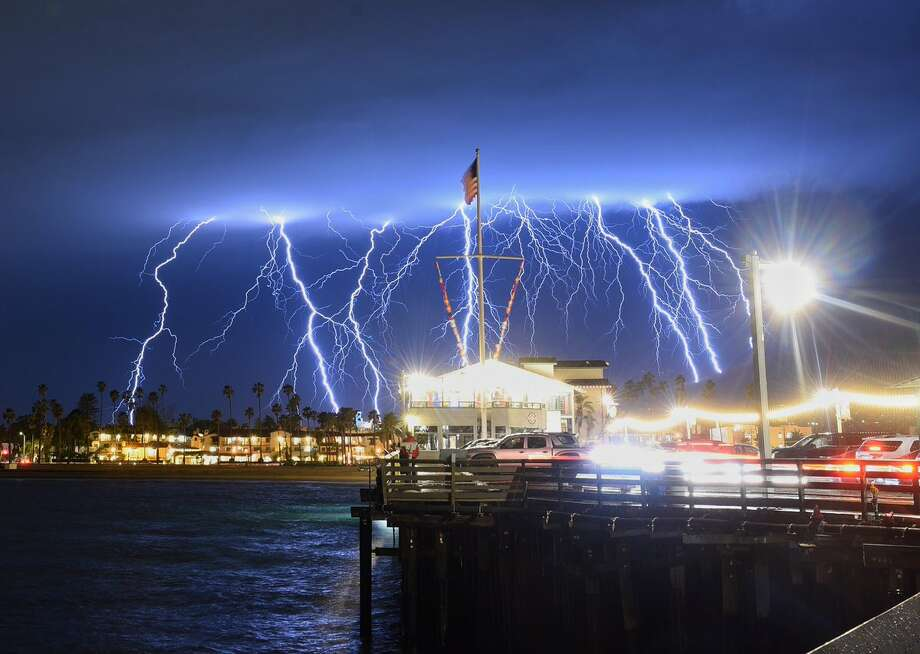 Lightning strikes filled the sky over Santa Barbara, Calif., on March 5, 2019. These photos were taken from Stearns Wharf. Photo: Santa Barbara County Fire