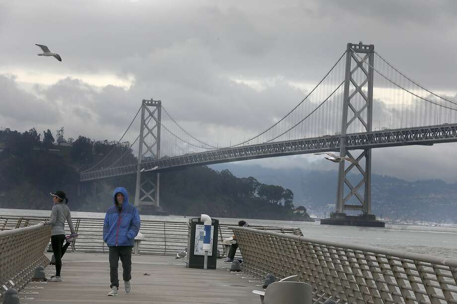 Cloudy skies seen from Pier 14 on the Embarcadero on Tuesday, March 5, 2019, in San Francisco, Calif. Photo: Liz Hafalia / The Chronicle