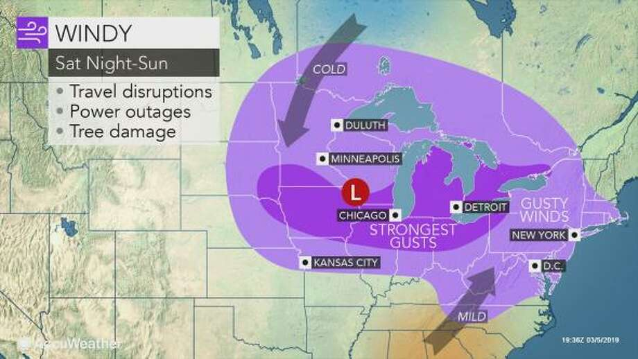 The strongest wind gusts, perhaps close to 65 mph, can occur around the Great Lakes region and over the ridges in the central and northern Appalachians. Photo: AccuWeather