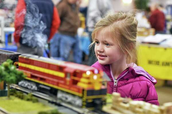 Six-year-old Victoria Rosiak of Watervliet checks out the Empire & Eastern model train club exhibit during the Albany Train Show at the Polish Community Center Saturday March 10, 2018 in Albany, NY. (John Carl D'Annibale/Times Union)