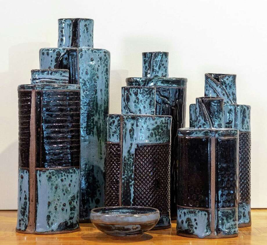 Blue bottles crafted by Kathy Wismar. Photo: David M. Hunt Library / Contributed Photo