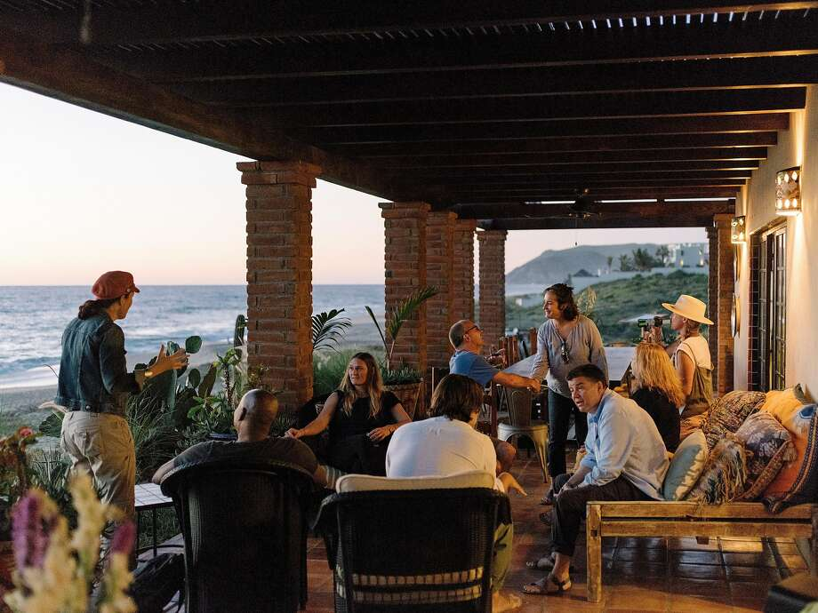 Students mingle on a porch at the Modern Elder Academy in El Pescadero, Mexico. Photo: Jason Henry / New York Times