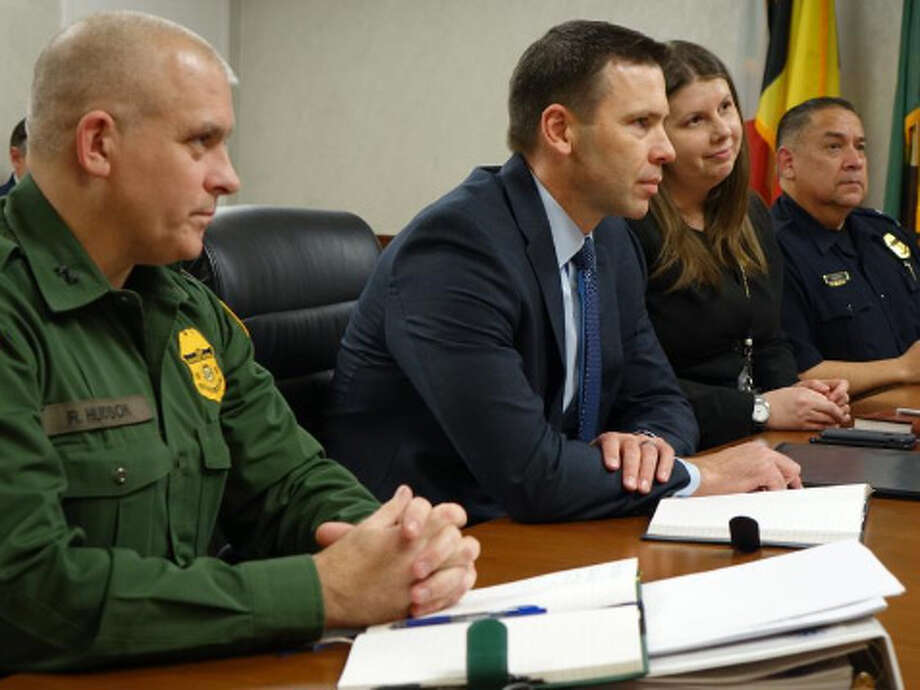 CBP Commissioner Kevin McAleenan, center, listens to the City of Laredo delegation at a Monday meeting in Washington, D.C. Photo: Laredo Morning Times