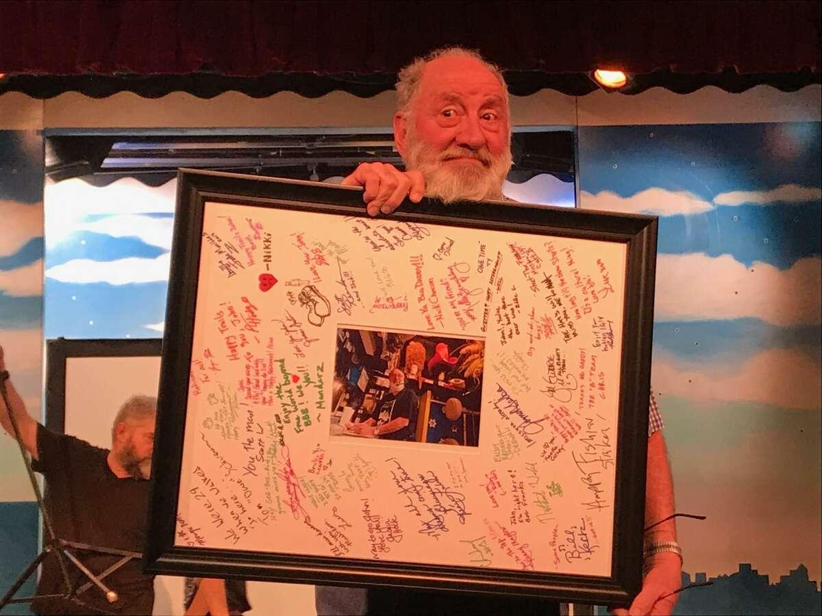 "John Camajani thanks friends and family at his retirement from ""Beach Blanket Babylon."""