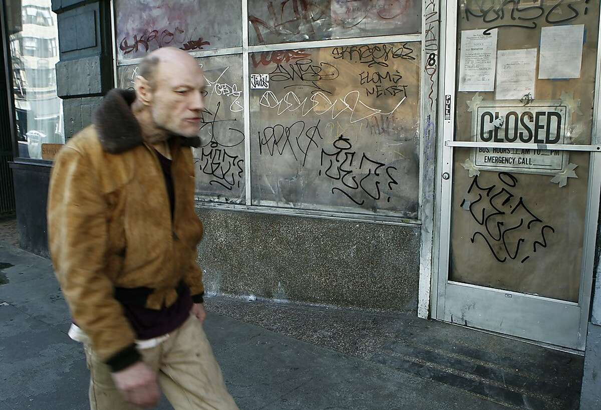 Graffiti covers the site of the Tu Lan Vietnamese restaurant on Sixth Street in San Francisco, Calif. on Wednesday, Jan. 16, 2013, which was shut down by the health department last year.