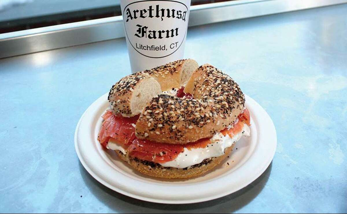 Smoked salmon and cream cheese bagel,Arethusa a mano, Bantam. Cohen's Bagel Co., Madison: Best bagel (not pictured) Made from scratch and baked daily, Cohen's bagels attract a loyal following. While its selection changes every so often, favorites here include the French toast, cheddar everything, habanero bacon, cranberry orange, and sun-dried tomato. Breakfast bagel sandwiches are a great way to start out the day, but their signature lunch sandwiches also can't be beat. 203-318-5090 cohensbagelcompany.com Arethusa a mano, Bantam: Best bagel finalist Arethusa a mano is the 2020 runner-up for best bagel in Connecticut. Arethusa bagels are made by hand, each rolled and baked to perfection. The restaurant is know for its smoked salmon and cream cheese bagel, among other sweet treats. 860-361-6460 arethusafarm.com