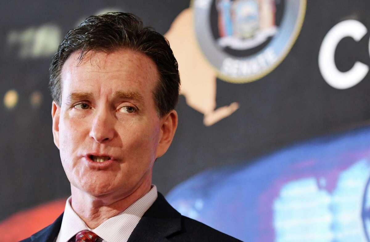 Senate Republican Leader John Flanagan speaks during a press conference where he addressed the downside of proposed criminal justice reform measures on Wednesday, March 6, 2019, at the Capitol in Albany, N.Y. (Will Waldron/Times Union)
