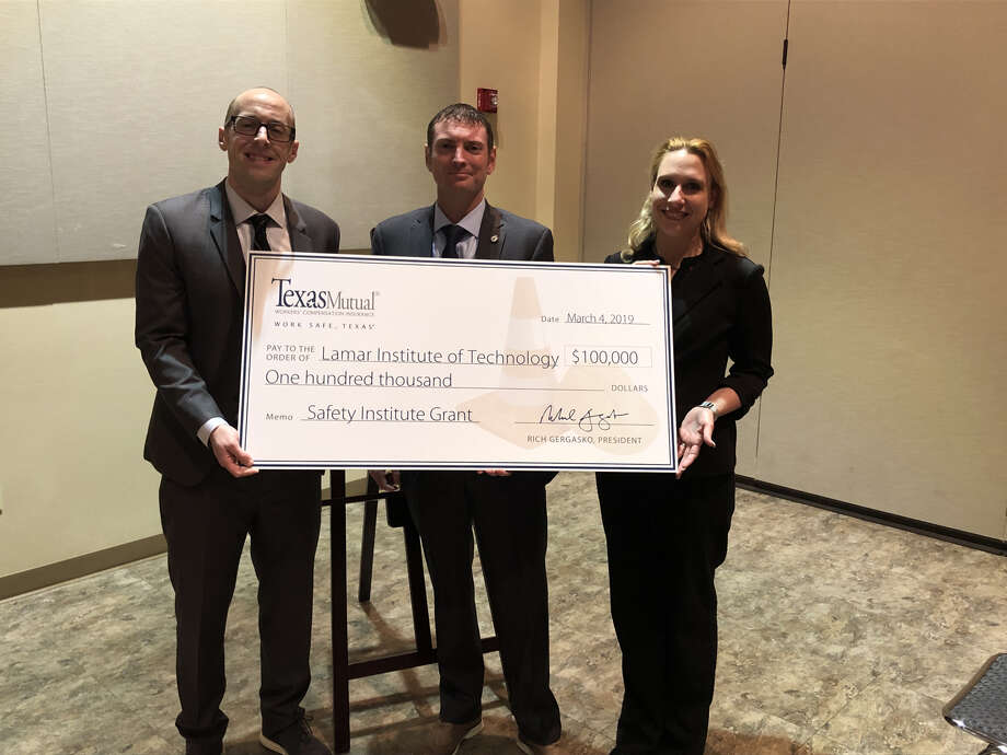 Craig Witherspoon, regional safety services manager at Texas Mutual Insurance Company, presents a $100,000 donation to Dr. Kerry Mix, executive vice president and provost at LIT and Dr. Miranda Phillips, dean of academic and student success at LIT. Photo: Texas Mutual Insurance