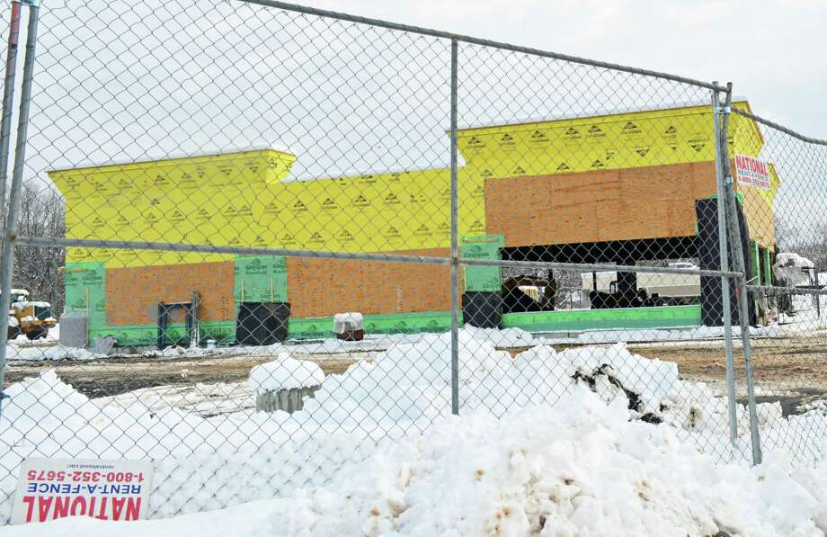 Chipotle Mexican Grill will soon occupy the building under construction at the corner of Route 66/Washington Street and Plaza Drive in Middletown. It's expected to open mid-summer. Photo: Hearst Connecticut Media