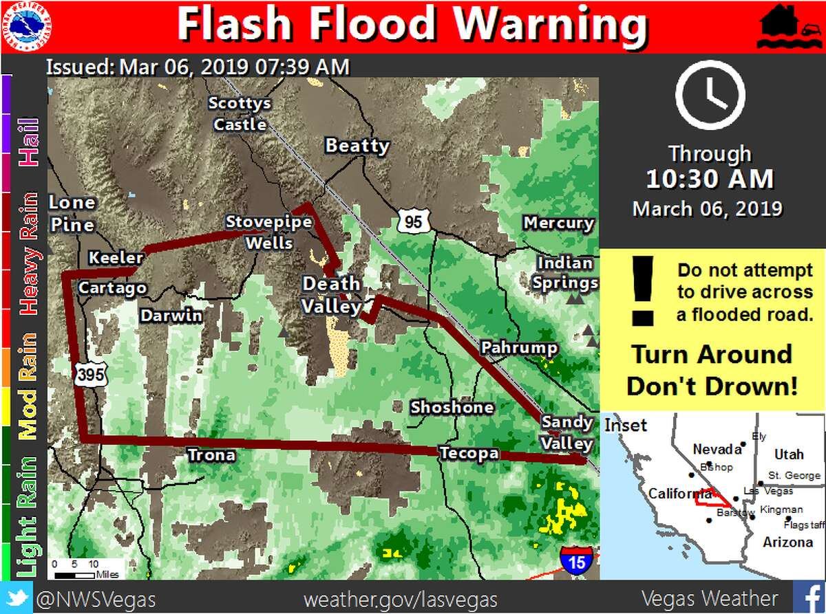 Heavy rain across Inyo County sparked a flash flood warning, in effect March 6, 2019, through 10:30 a.m. i
