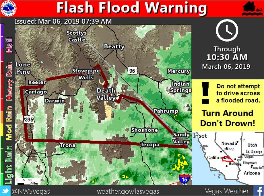 Heavy rain across Inyo County sparked a flash flood warning, in effect March 6, 2019, through 10:30 a.m. i Photo: NWS