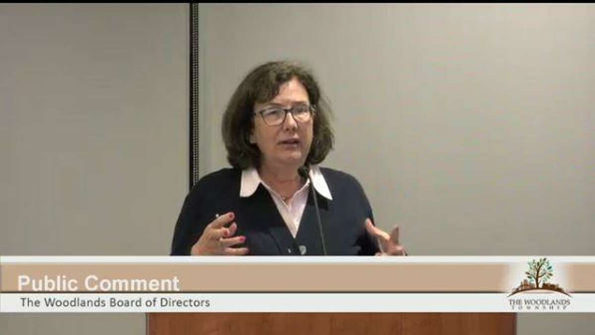 TownshipFuture PAC president Amy Lecocq is shown in this file image speaking during a meeting of The Woodlands Township Boad of Directors. Lecocq, a former federal prosecutor who once worked with Robert Mueller, is an anti-incorporation activist who worked as the campaign manager for 2019 board candidate Walter Lisiewski.