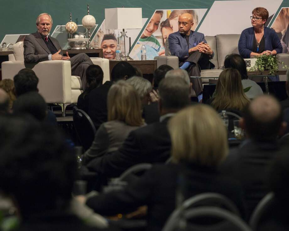 Steve Thomas, president of Midland College, Gregory Williams, president of Odessa College and Sandra Woodley, president of University of Texas of the Permian Basin, speak about the state of higher education 03/06/2019 at the annual Midland Chamber of Commerce State of Education luncheon. Tim Fischer/Reporter-Telegram Photo: Tim Fischer