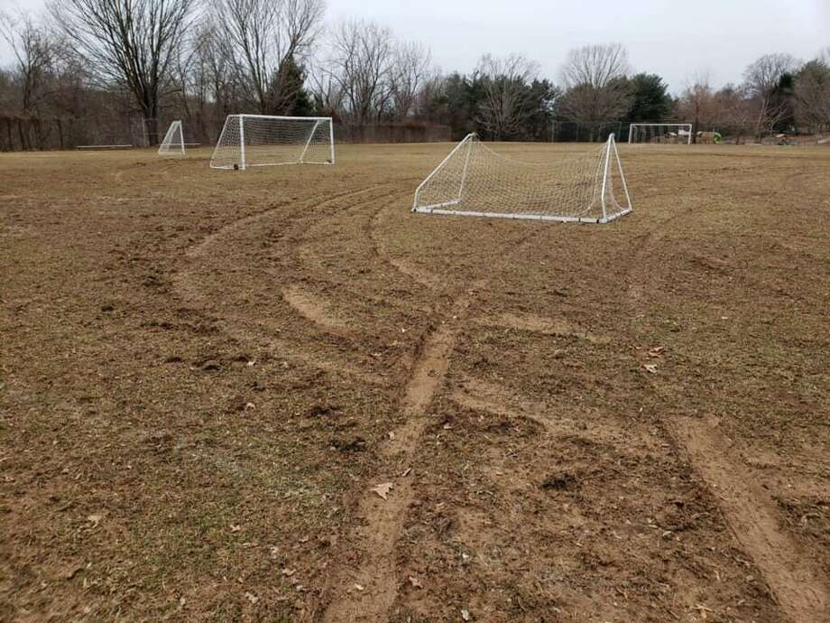 Two 17-year olds were arrested by Ansonia Police and charged with criminal mischief for vandalizing the soccer field at the Ansonia Nature Center in February. Photo: City Of Ansonia Facebook. /