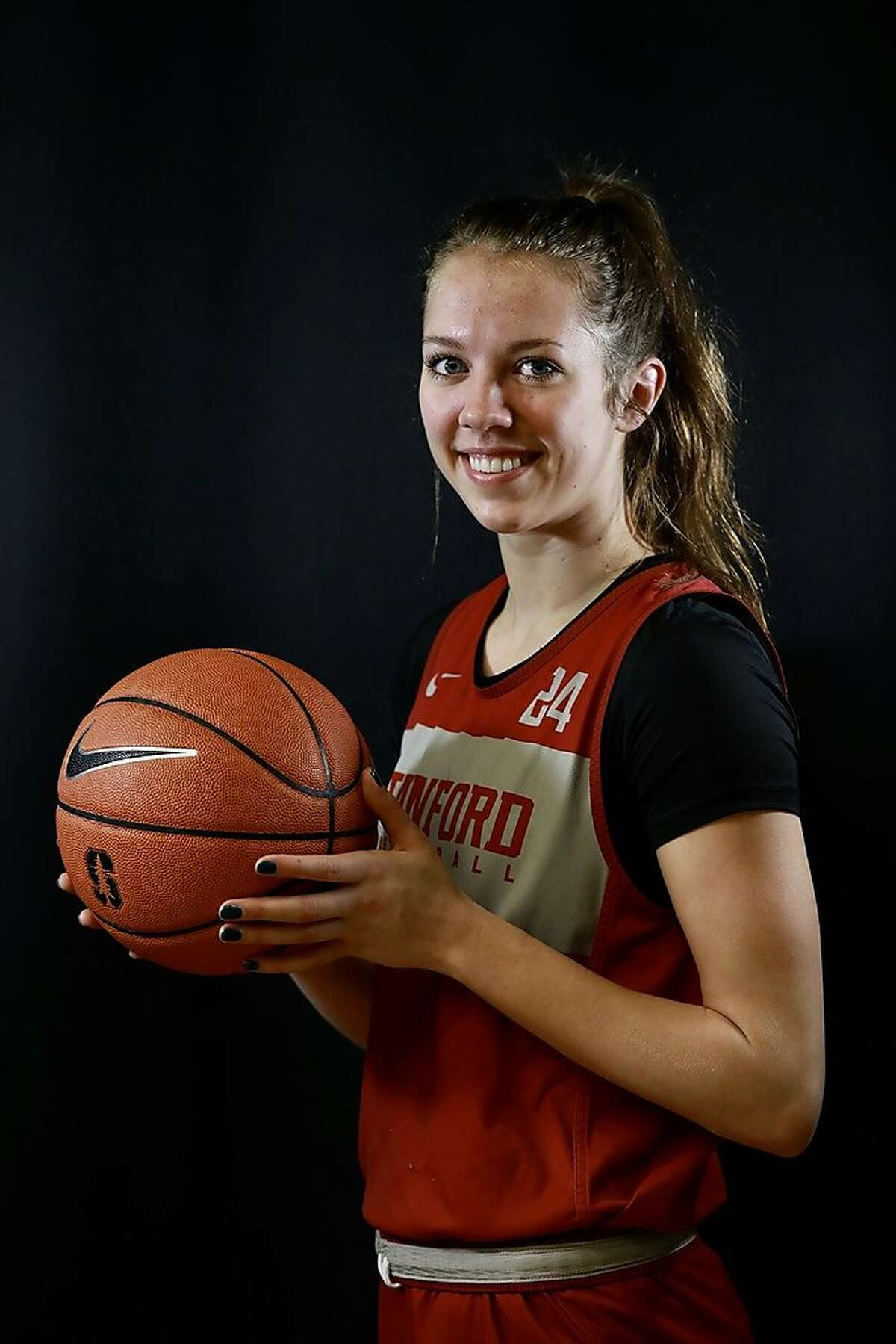Lacie Hull poses for a portrait at Maples Pavilion at Stanford University in Stanford, Calif., on Tuesday, March 5, 2019. Hull and her twin sister Lexie, of Spokane, Wash., are guards for Stanford University's women's basketball team. They have made great strides as Stanford freshmen and will be key members of the rotation as the Cardinals play their first game in the Pac-12 tournament on Friday.
