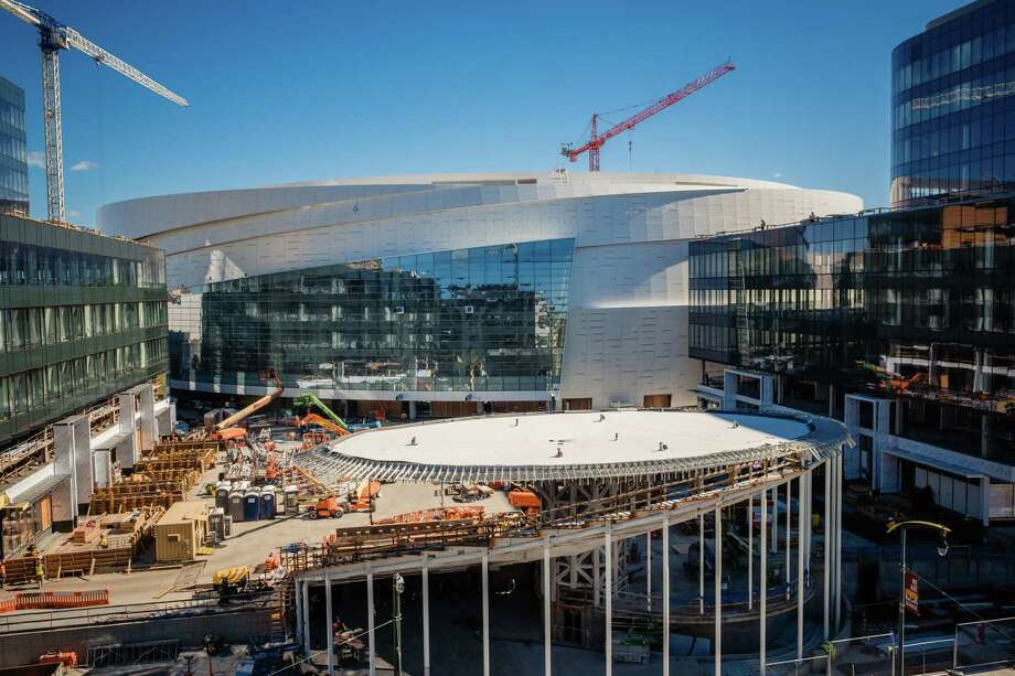 Chase Center will house the Warriors beginning in the 2019-20 season. The buildings to the left and right of the arena will house commercial businesses, including Uber's campus. Photo: Photo For The Washington Post By Nick Otto / Nick Otto