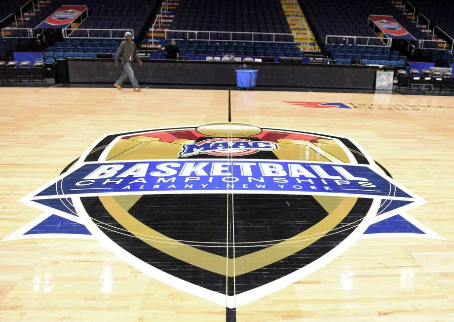 Setup for for the 2019 MAAC MenÕs and WomenÕs Basketball Championships takes place on Wednesday, March 6, 2019 at the Times Union Center in Albany, NY. (Phoebe Sheehan/Times Union) Photo: Phoebe Sheehan, Albany Times Union / 40046375A