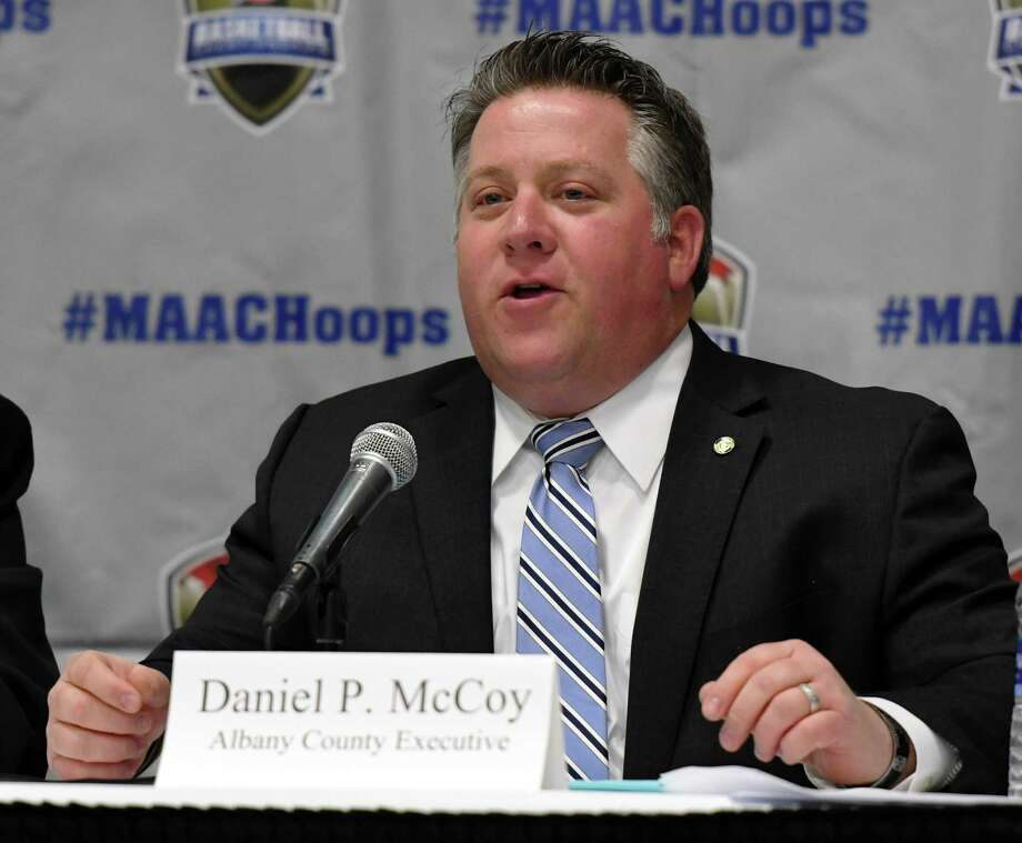 Albany County Executive Daniel P. McCoy speaks during a press conference for the 2019 MAAC MenÕs and WomenÕs Basketball Championships on Wednesday, March 6, 2019 at the Times Union Center in Albany, NY. (Phoebe Sheehan/Times Union) Photo: Phoebe Sheehan, Albany Times Union / 40046375A