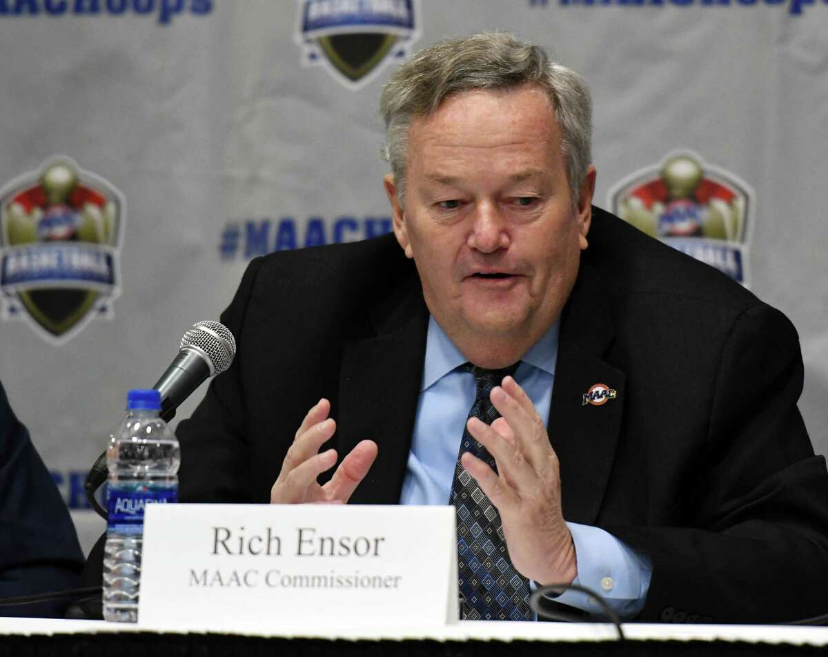 MAAC Commissioner Rich Ensor speaks during a press conference for the 2019 MAAC Men?•s and Women?•s Basketball Championships on Wednesday, March 6, 2019 at the Times Union Center in Albany, NY. (Phoebe Sheehan/Times Union)