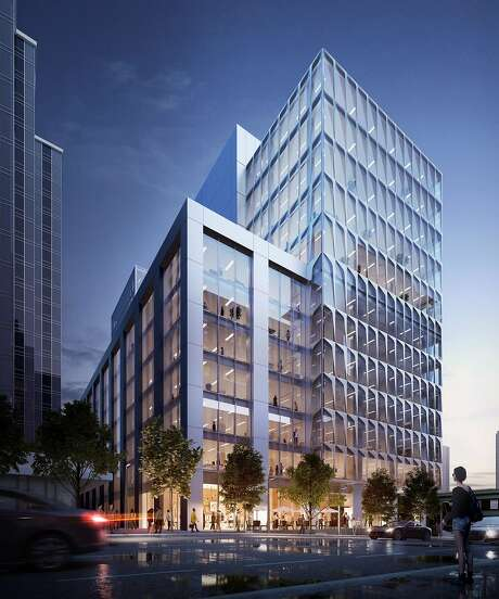 A rendering of 633 Folsom St. in San Francisco, where Asana has leased a new headquarters. The project, which includes renovations and new upper floors, is under construction.