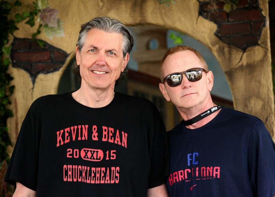 "KROQ DJs Gene ""Bean"" Baxter (left) and Kevin Ryder pose backstage at the KROQ Weenie Roast y Fiesta 2015 at Irvine Meadows Amphitheatre in Irvine. Photo: Gabriel Olsen / Getty Images"