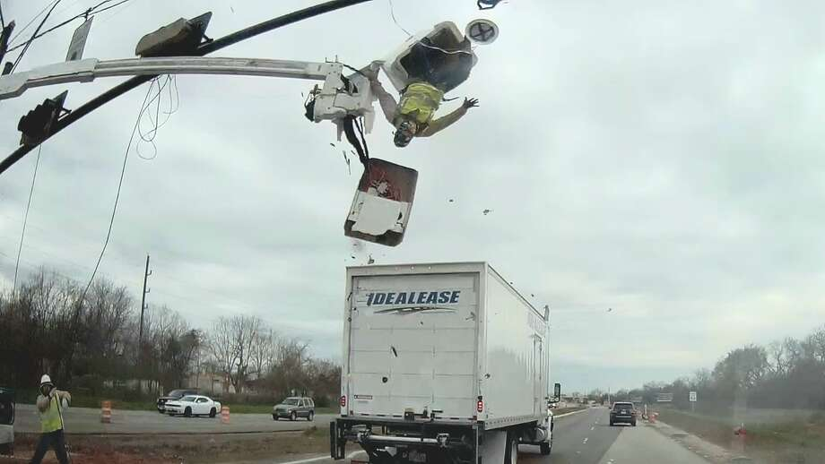 A utility worker almost fell into oncoming traffic last month in Fort Bend County after a truck clipped the bucket he was working in, according to a driver who captured the incident on dash cam footage. The worker survived the incident, the driver said.