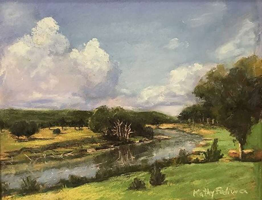 """Pictured is a pastel painting titled """"Wimberley, Sweet Wimberley,"""" by award-winning area impressionistic painter, Kathy Fediw, who will be leading a group of artists painting en plein air in downtown Conroe during next week's Rising Stars and Legends of Texas event and whose work is being exhibited throughout the month of March atBeanPunk coffee shop, 330 N. Main St. in downtown Conroe. Photo: Courtesy Photo"""