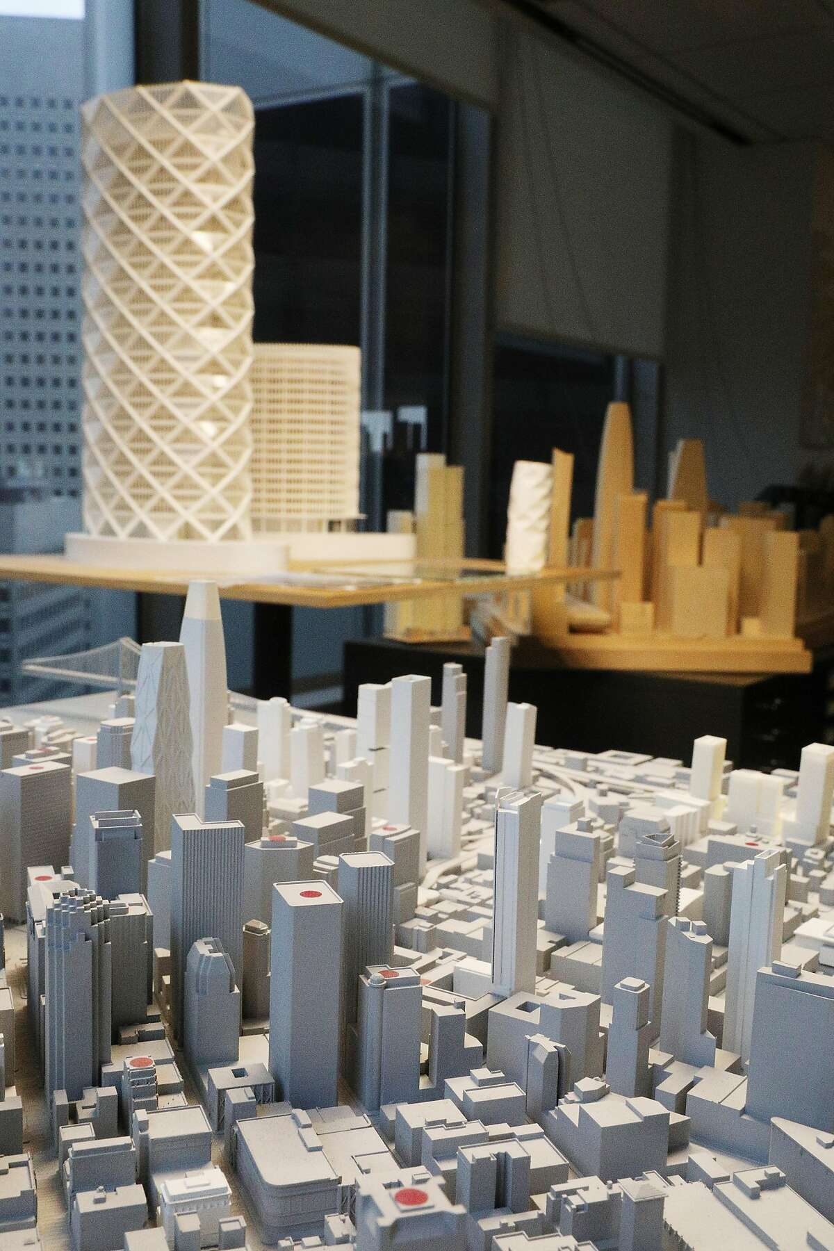 Presentation and study models are seen displayed at Skidmore, Owings & Merrill on Wednesday, March 6, 2019 in San Francisco, Calif.