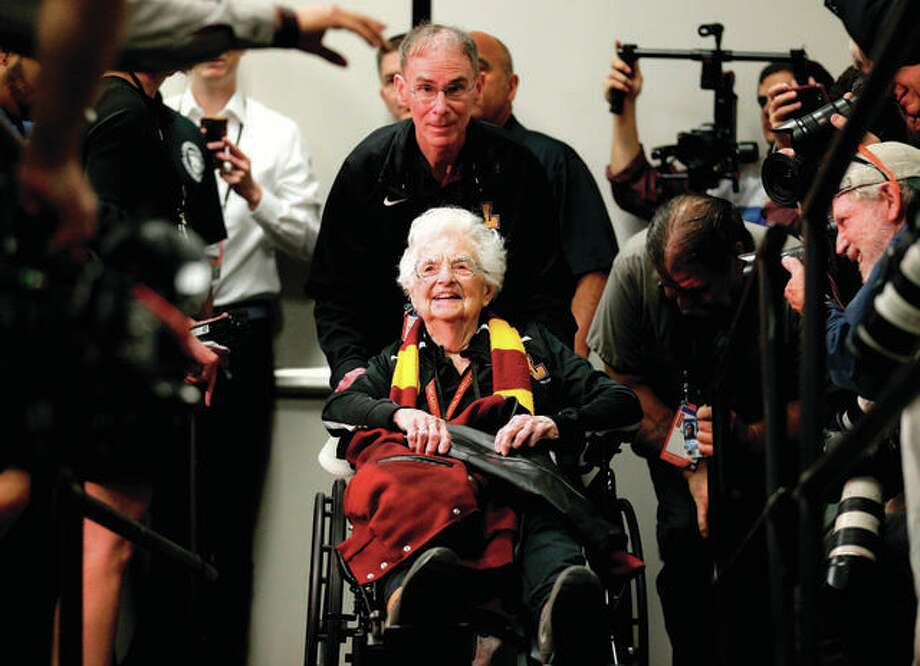 Loyola's Sister Jean Dolores Schmidt arrives at a news conference for the Final Four in San Antonio. The now 99-year-old nun left an indelible mark on last year's NCAA Tournament. Photo: Associated Press