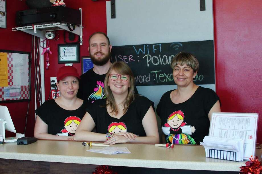 Pierogi Queen owner Eva Sek, right, stands with staff members Mila Boss, Josh Varner and Carly Campbell. Photo: Kirk Sides / Staff Photographer / © 2018 Kirk Sides / Houston Chronicle