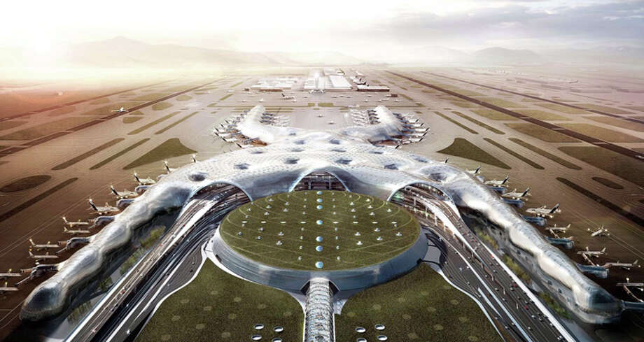 Will three airports replace this scrapped $13 billion mega-airport for Mexico City? Photo: Foster & Partners