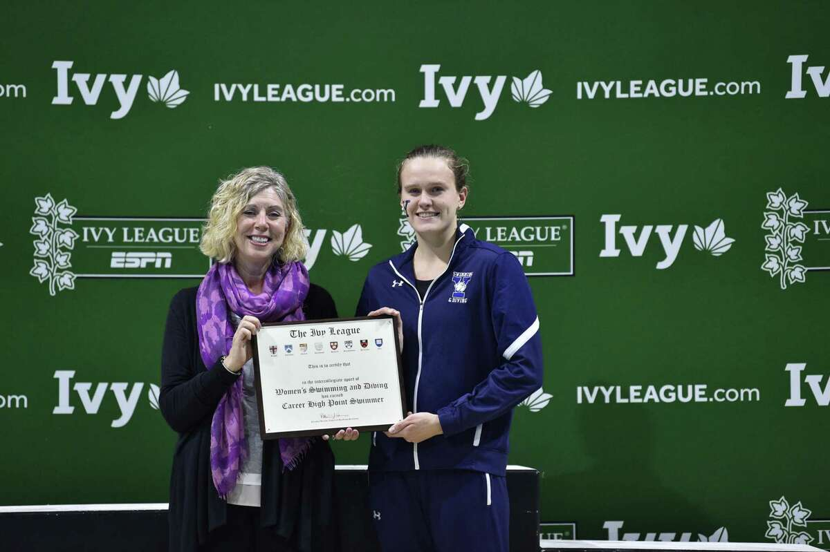 Yale's Bella Hindley is a member of 10 Ivy League championship relay teams.