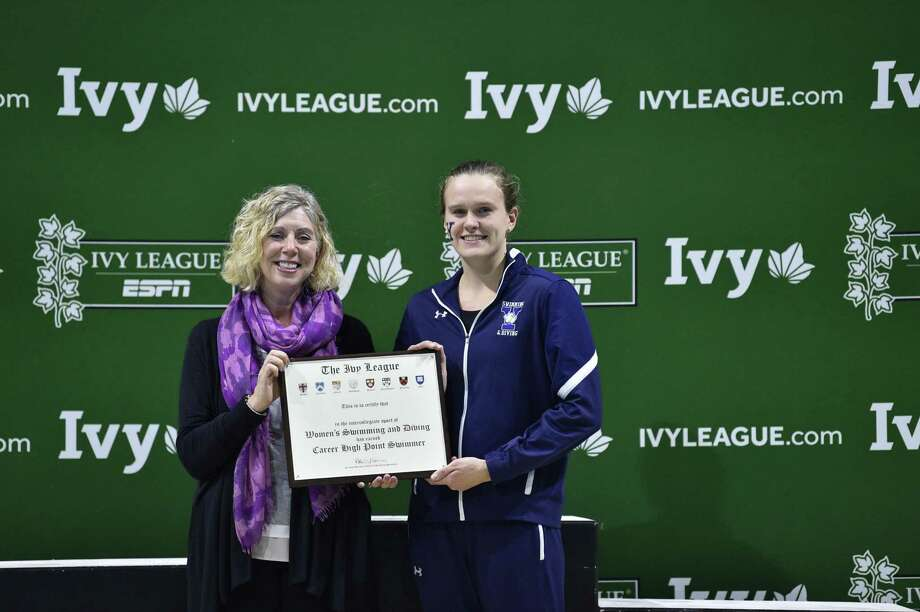Yale's Bella Hindley is a member of 10 Ivy League championship relay teams. Photo: Yale Athletics