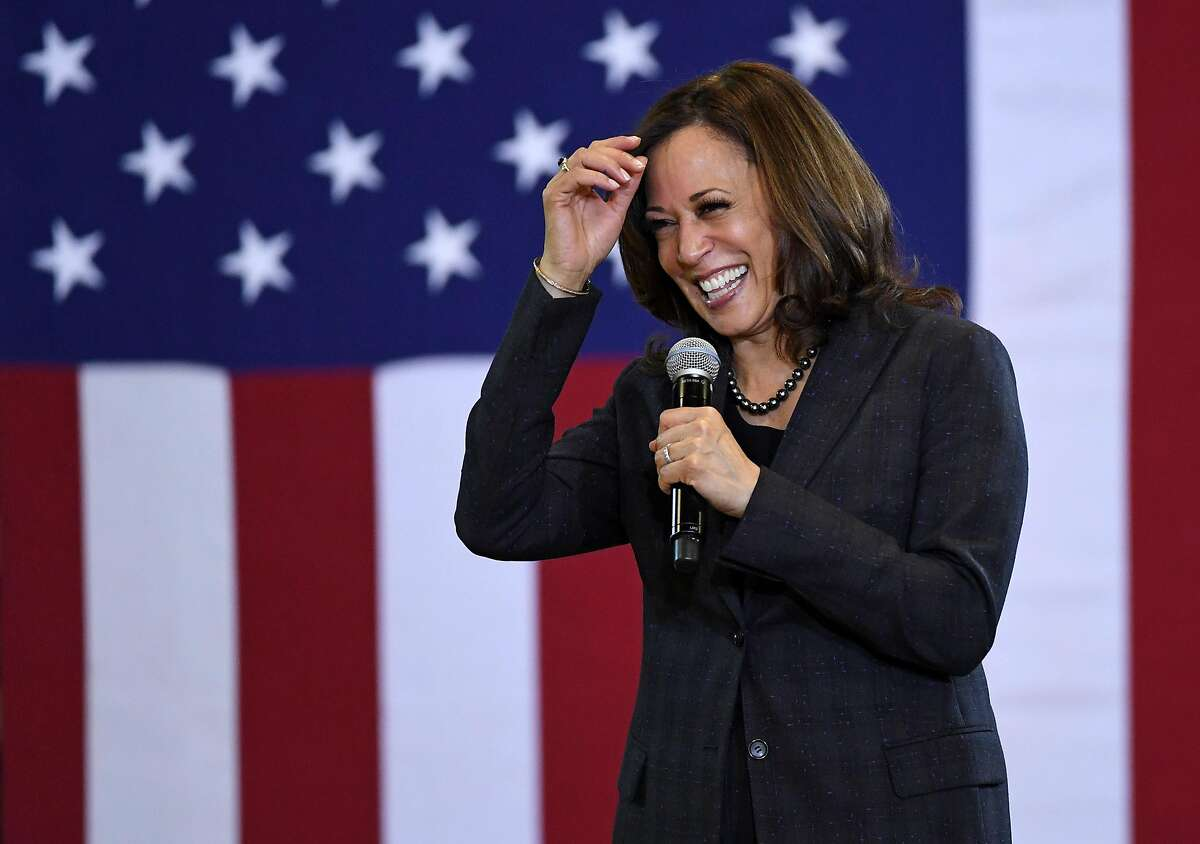 NORTH LAS VEGAS, NEVADA - MARCH 01: U.S. Sen. Kamala Harris (D-CA) speaks during a town hall meeting at Canyon Springs High School on March 1, 2019 in North Las Vegas, Nevada. Harris is campaigning for the 2020 Democratic nomination for president. ~~
