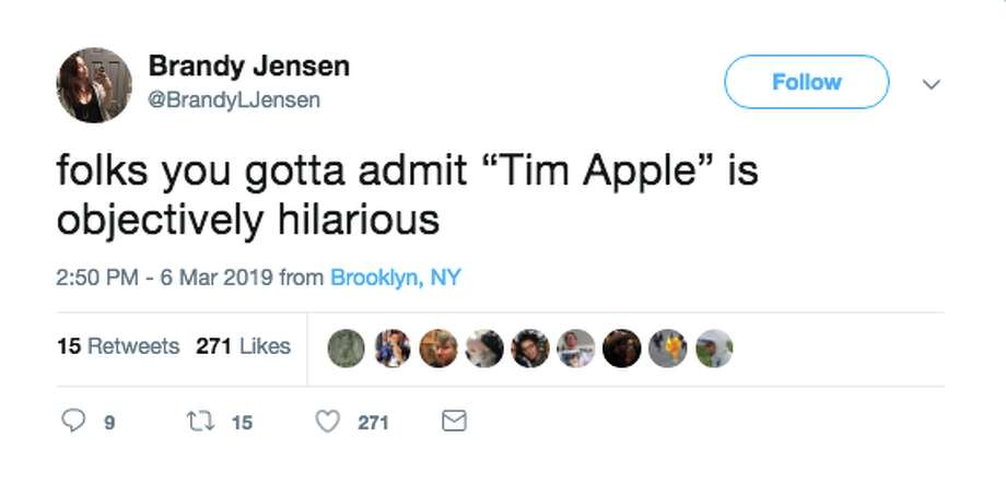 "Twitter reacts to Trump saying ""Tim Apple"" when referring to Apple CEO Tim Cook. Photo: Screenshot / Twitter"
