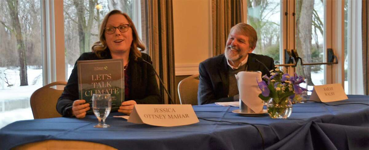 Jessica Ottney Mahar and Mark King speak at a panel presented by the Mohawk Hudson Land Conservancy on Feb. 24. (Provided)