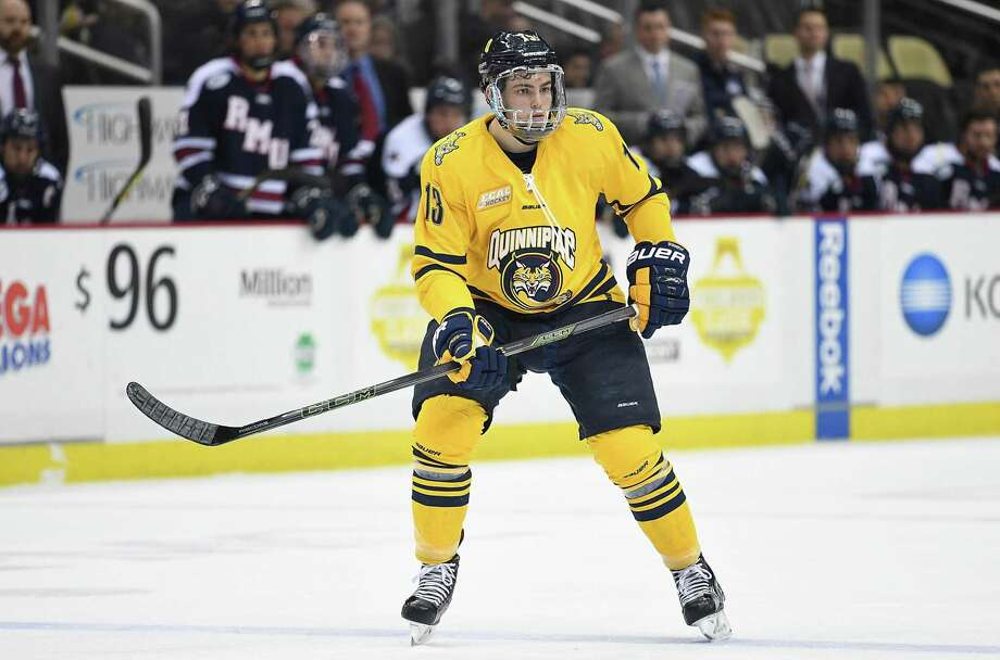 Quinnipiac's Chase Priskie skates in the second period during the championship game of the Three Rivers Classic hockey tournament at PPG PAINTS Arena on December 30, 2016 in Pittsburgh, Pennsylvania. Photo: Justin Berl / Getty Images / 2016 Justin Berl 2016 Justin Berl