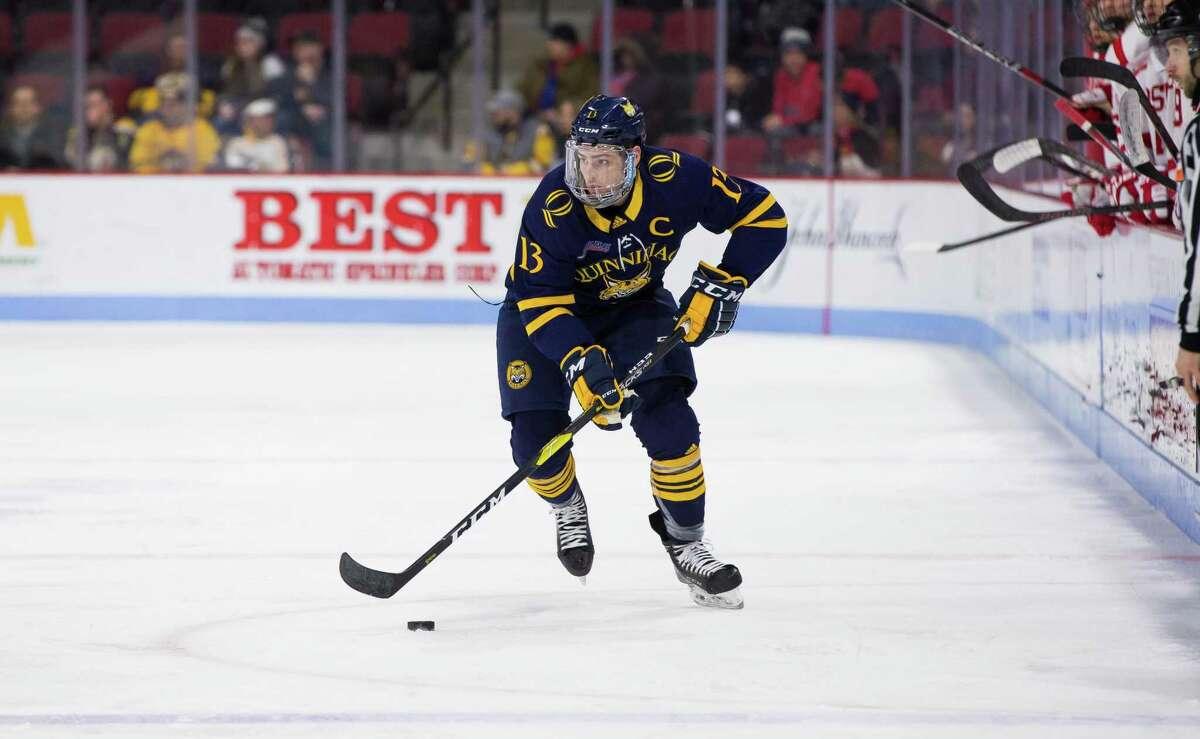 Quinnipiac's Chase Priskie skates against Boston University during a game in Boston on Jan. 19.
