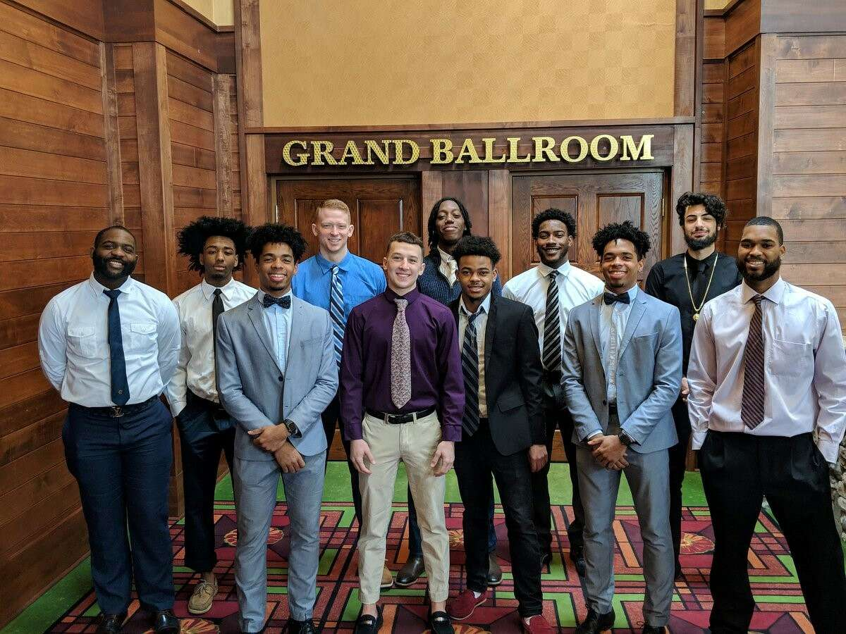 Members of the Byrant & Stratton men's basketball team at the USCAA Tournament banquet in Uniontown, Pa., on Wednesday. (Courtesy of Bryant & Stratton)