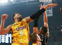 MELBOURNE, AUSTRALIA - FEBRUARY 28: Andrew Bogut of the Kings blocks the ball during game one of the NBL Semi Final series between Melbourne United and the Sydney Kings at Melbourne Arena on February 28, 2019 in Melbourne, Australia. ~~