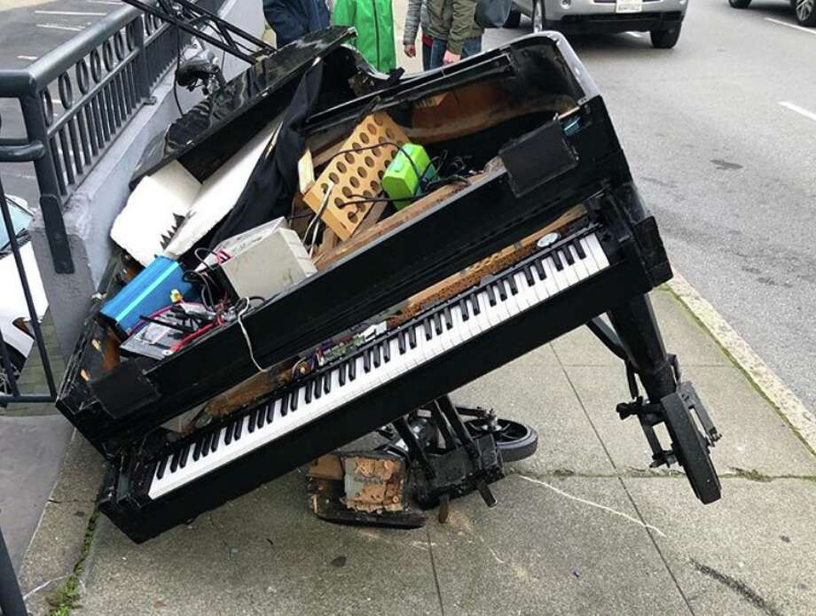 Davide Martello's piano crashed down Bay Street on Monday, but fortunately, he was able to repair it. Photo: Courtesy Davide Martello