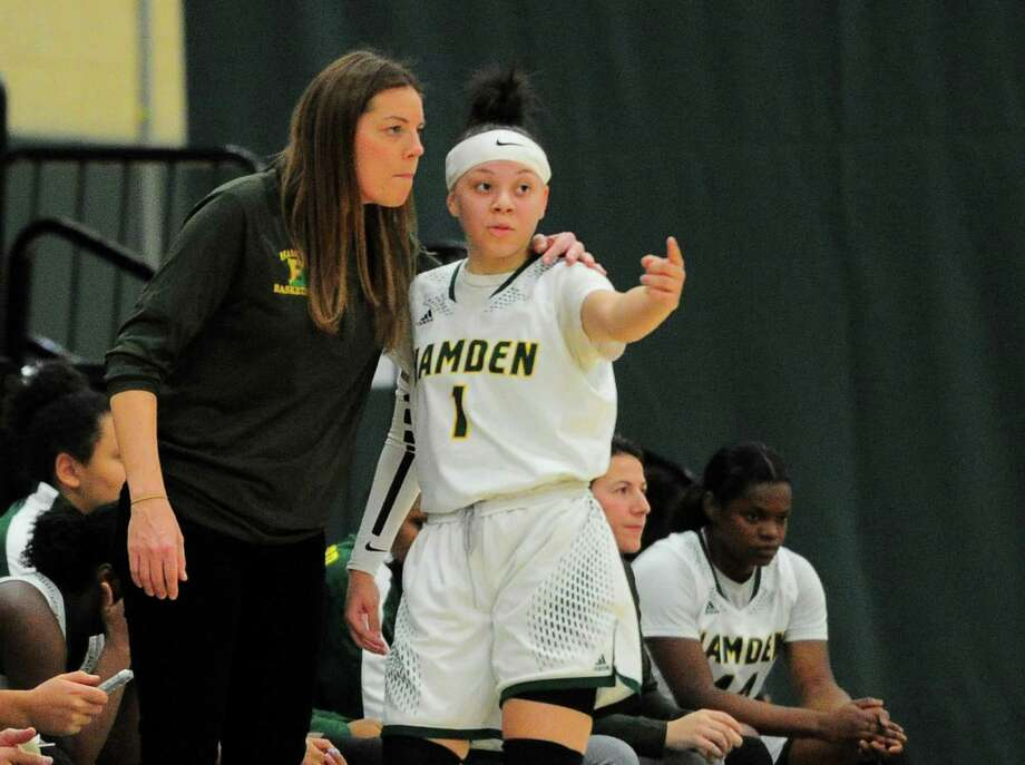 Hamden Head Coach: Amanda Forcucci during girls high school basketball action against Mercy in Hamden, Conn., on Tuesday Dec. 11, 2018. Photo: Christian Abraham / Hearst Connecticut Media / Connecticut Post